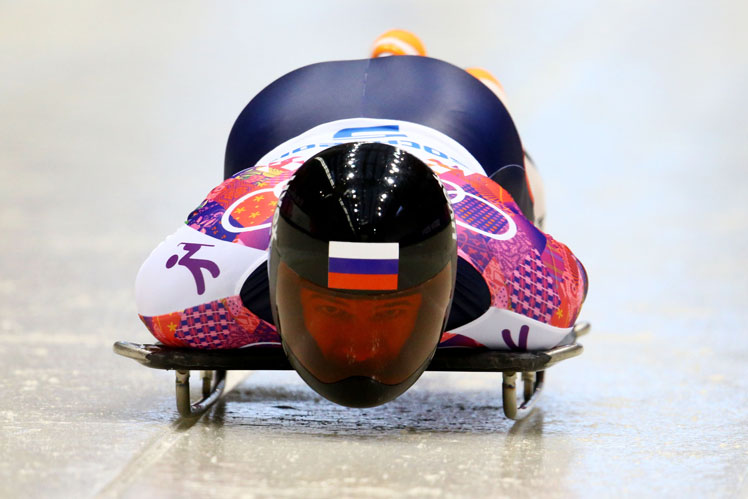 Alexander Tretiakov in action in the skeleton. Picture: Getty