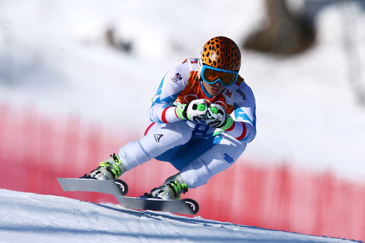 Anna Fenninger on her way to gold in the Super G. Picture: Getty