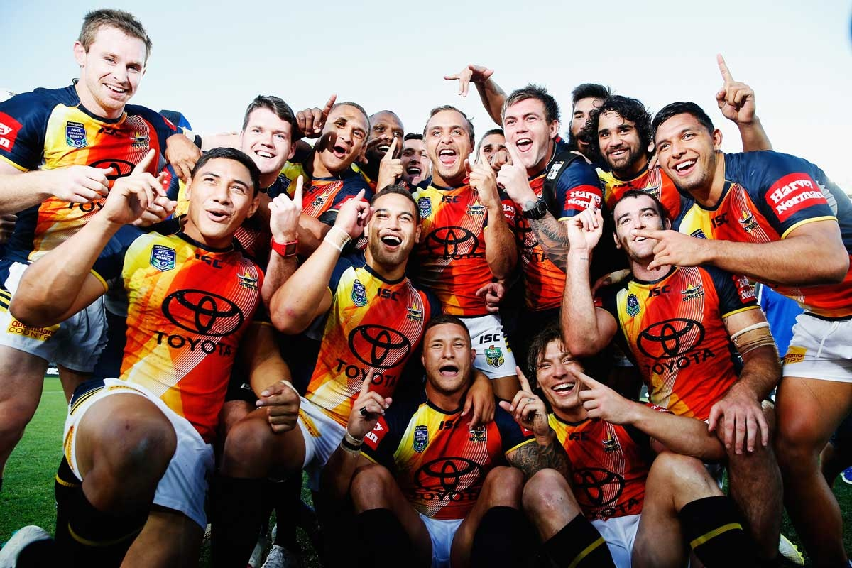Title breakthrough: the Cowboys after their win in Auckland.