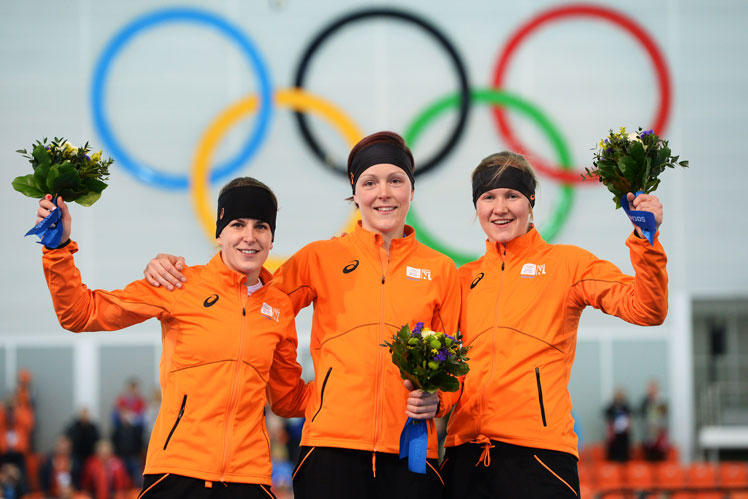 Speed skating stars (from left) Irene Wust, Jorien ter Mors and Charlotte van Beek. Picture: Getty