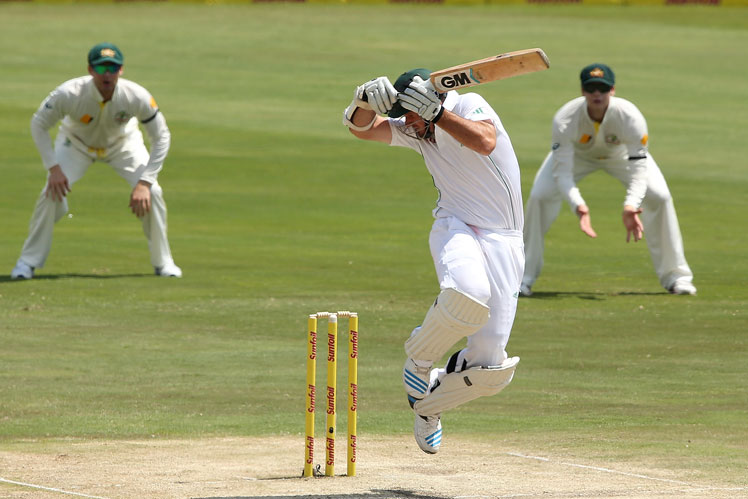 Graeme Smith's undignified first innings demise. Picture: Getty