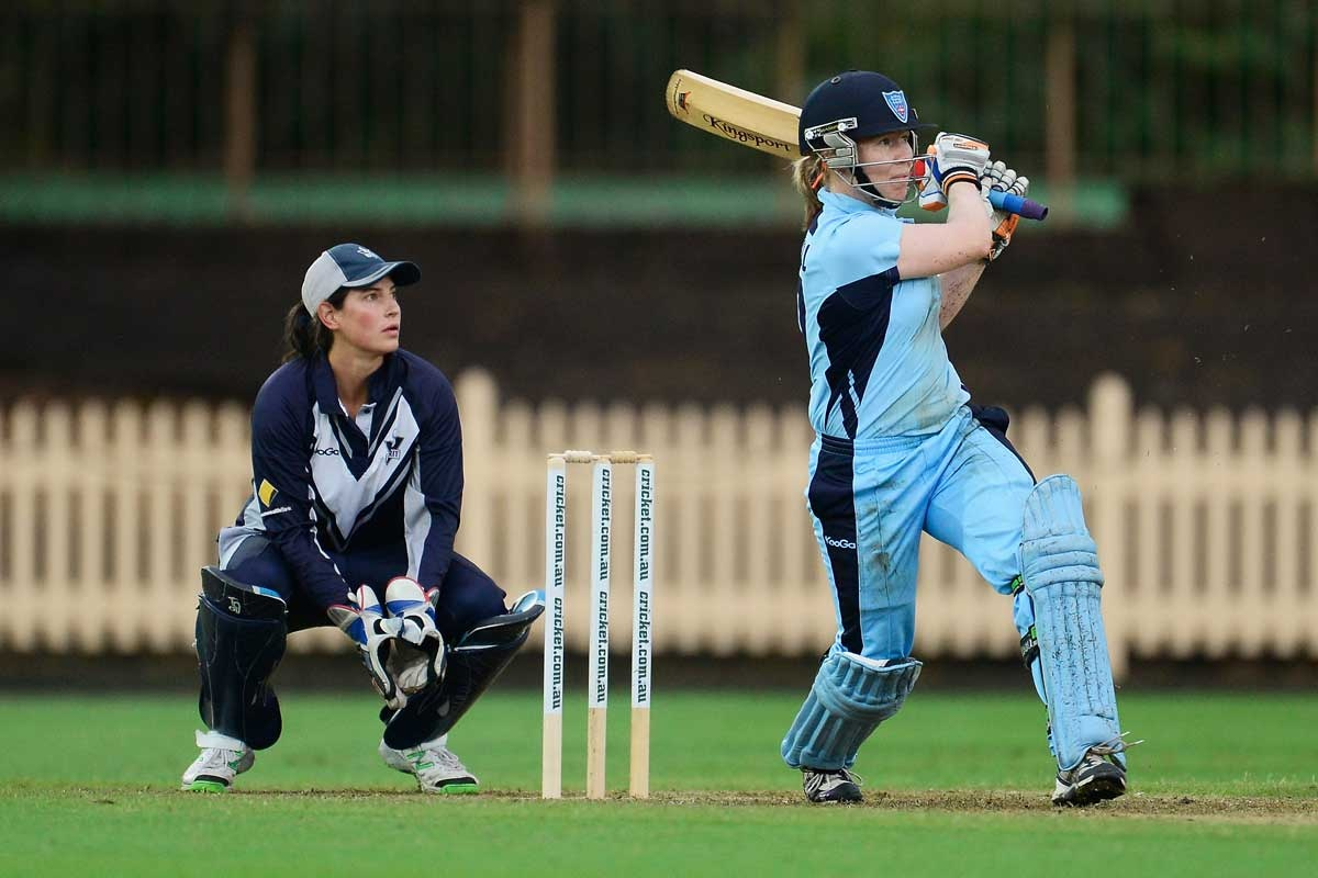 Alex Blackwell of NSW hits out during the interstate cricket final.