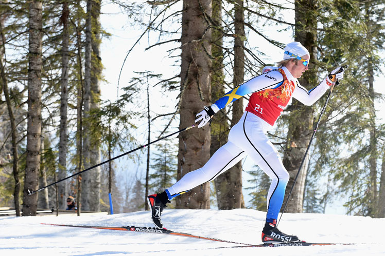 Sweden's Lars Nelson strides out during the cross-country relay. Picture: Getty