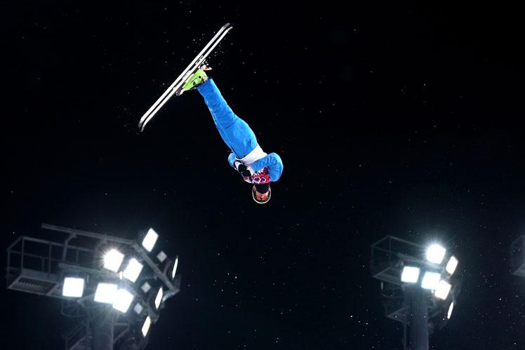 Anton Kushnir flies to gold in the men's aerials. Picture: Getty