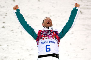 Elation after his jump. Picture: Getty