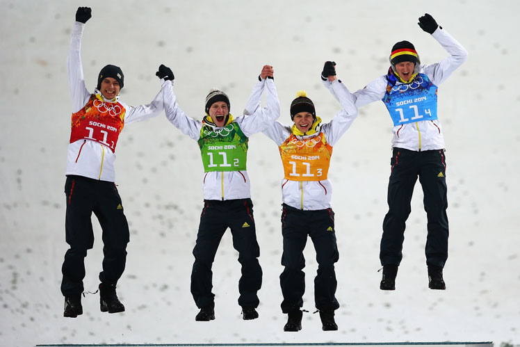The German ski jumping team. Picture: Getty