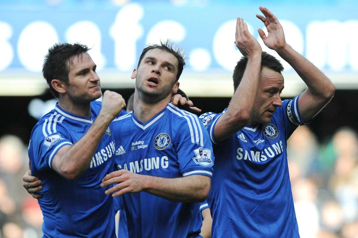 Relieved Chelsea players (from left) Frank Lampard, Branislav Ivanovic and John Terry.