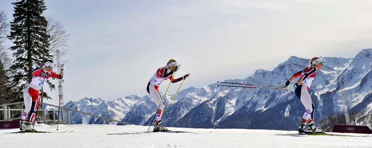 Clean sweep: Norway's Marit Bjoergen leads from compatriots Therese Johaug and Kristin Stoermer Steira. Picture: Getty