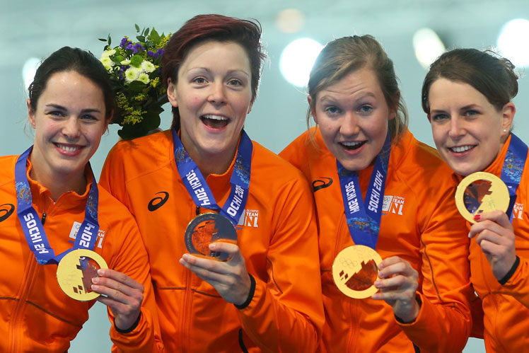 The Netherlands continued to dominate the ice skating, with the women's (above) and men's teams winning the pursuit. Picture: Getty