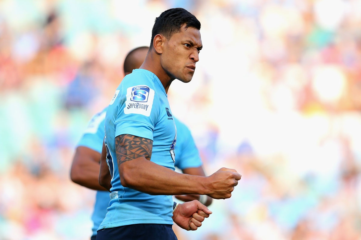 Israel Folau strikes a fearsome pose during Sunday's win.