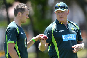 Craig McDermott and Peter Siddle. Picture: Getty