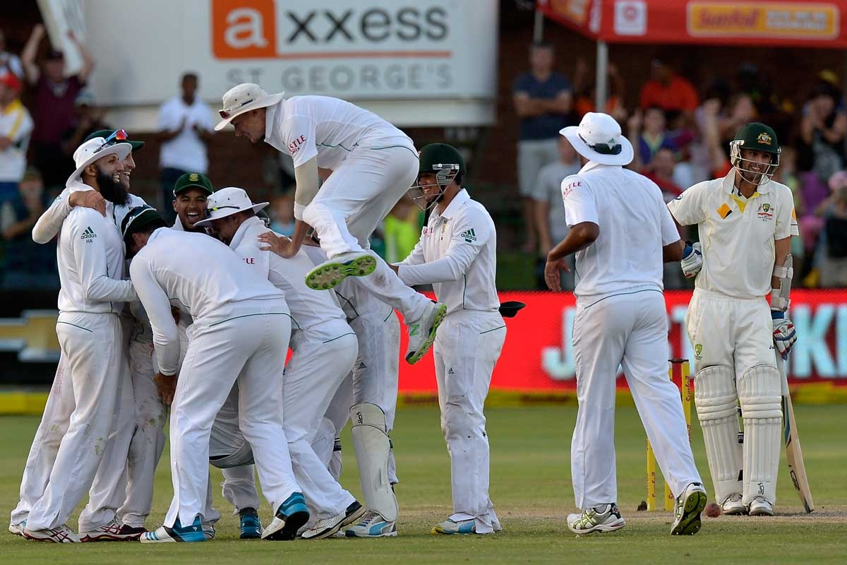 On top of the world: Dale Steyn leads the celebrations.