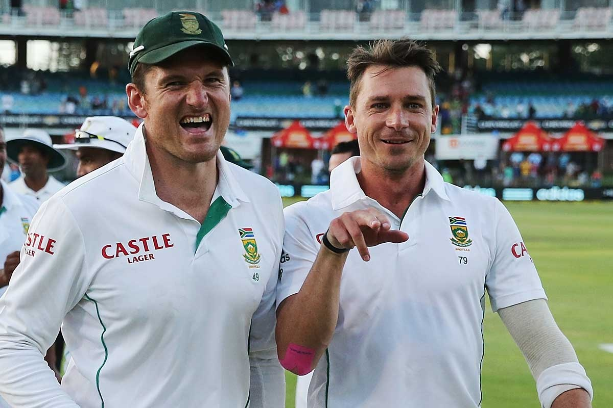 Steyn (right) after his second innings demolition of Australia.