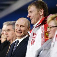Vladimir Putin and new chum Alexander Zubkov. Picture: Getty