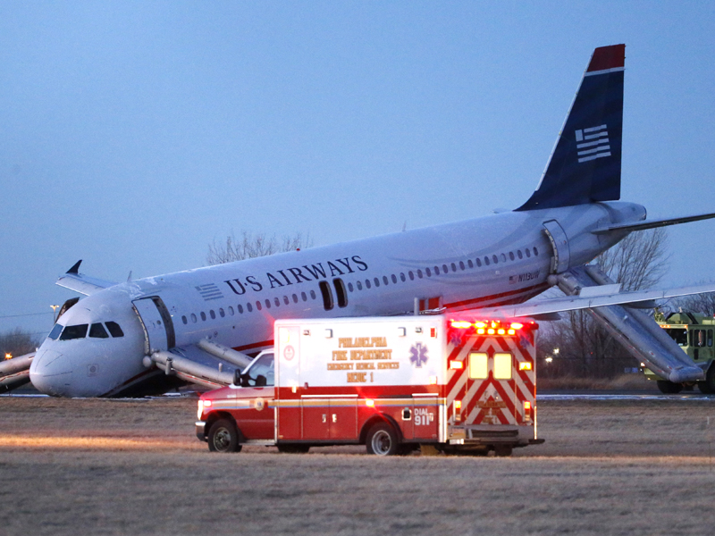 A damaged US Airways jet at the Philadelphia International Airport