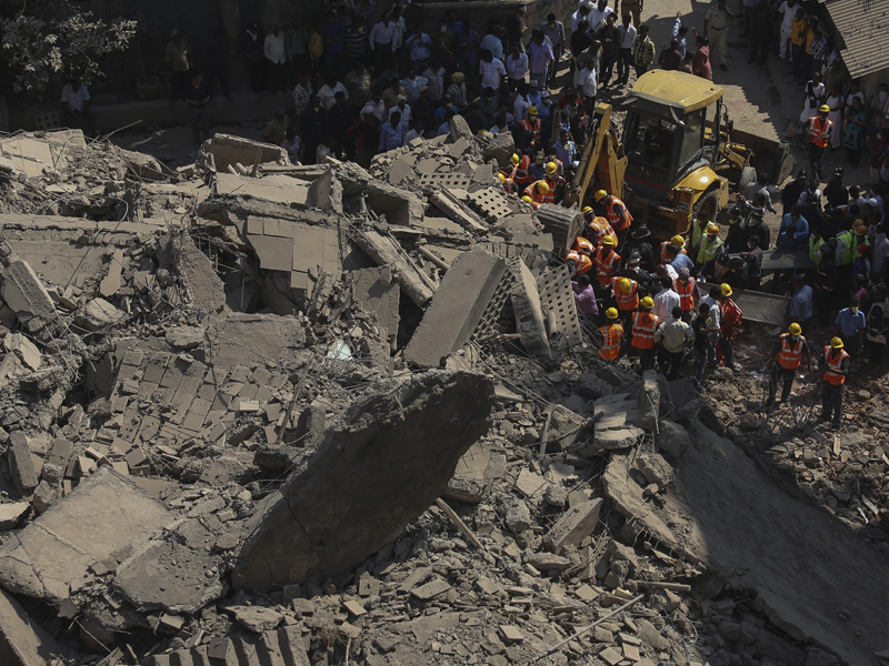 The remains after a building collapse in Mumbai