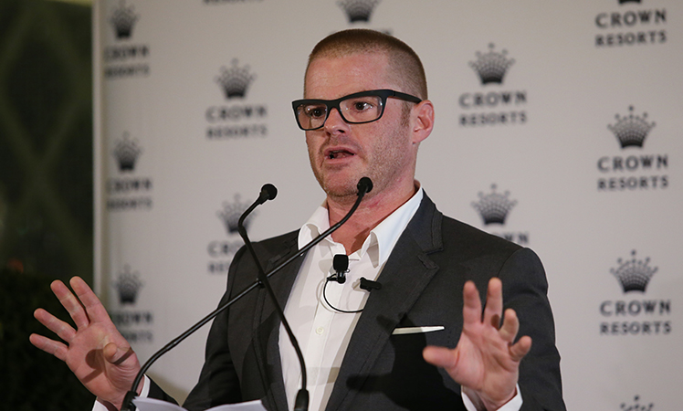 Celebrity chef Heston Blumenthal at a media announcement at Crown in Melbourne.