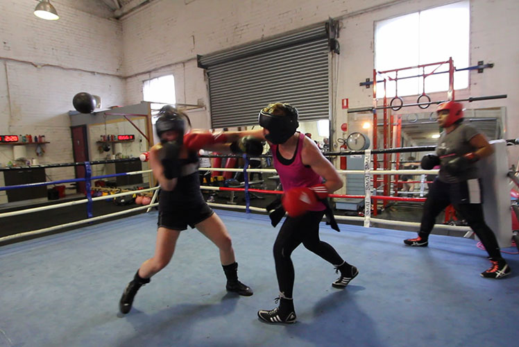 A sparring contest at Mischa's gym. Source: Supplied.