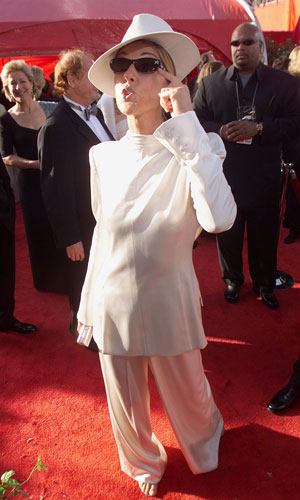 Celine Dion in that infamous reverse tuxedo.