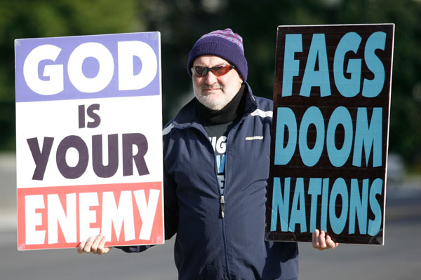 Fred Phelps Jr., son of Fred Phelps, protests outside the US Supreme Court in 2010. Photo: Getty.