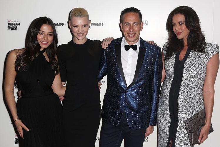 VAMFF CEO Graeme Lewsey poses with David Jones ambassadors Jesica Gomes, Montana Cox and Megan Gale.