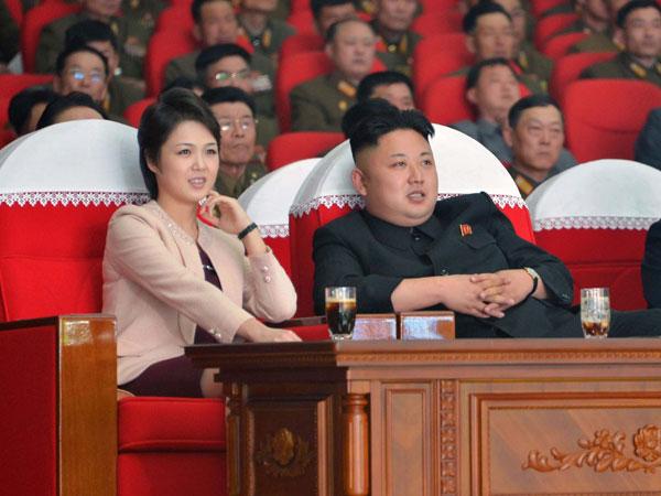 North Korean leader Kim Jong-Un (R) and his wife Ri Sol-Ju (L) in March, 2014. Photo: AAP