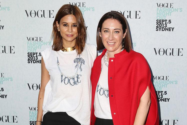 Vogue Australia senior fashion editor Christine Centenera and editor-in-chief Edwina McCann. Photo: Getty