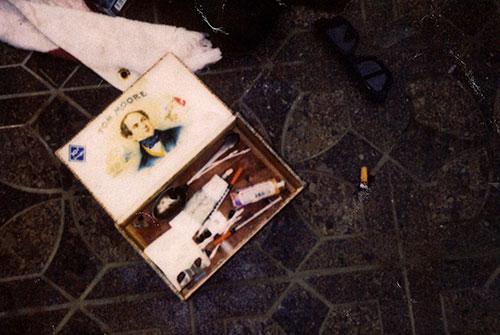 Drugs paraphernalia in a cigar box. Source: AP