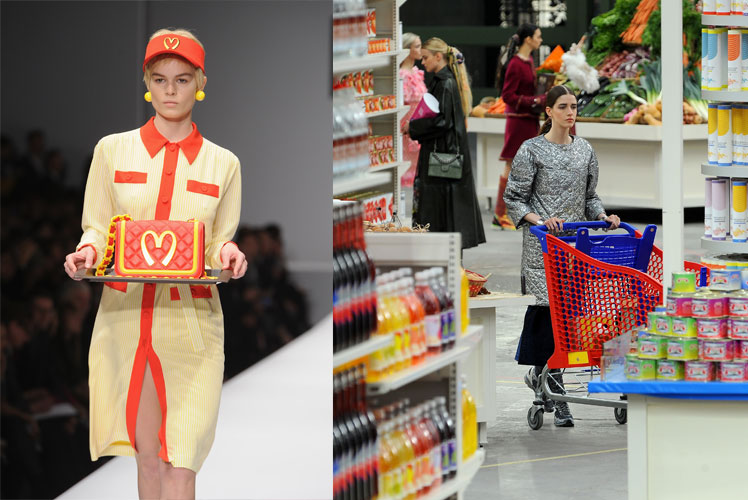Foodie fashion at Moschino (left) and Chanel.