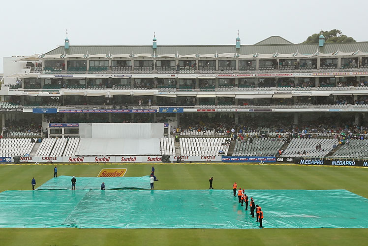Rain brought a premature end to the day's play at Newlands. Picture: Getty