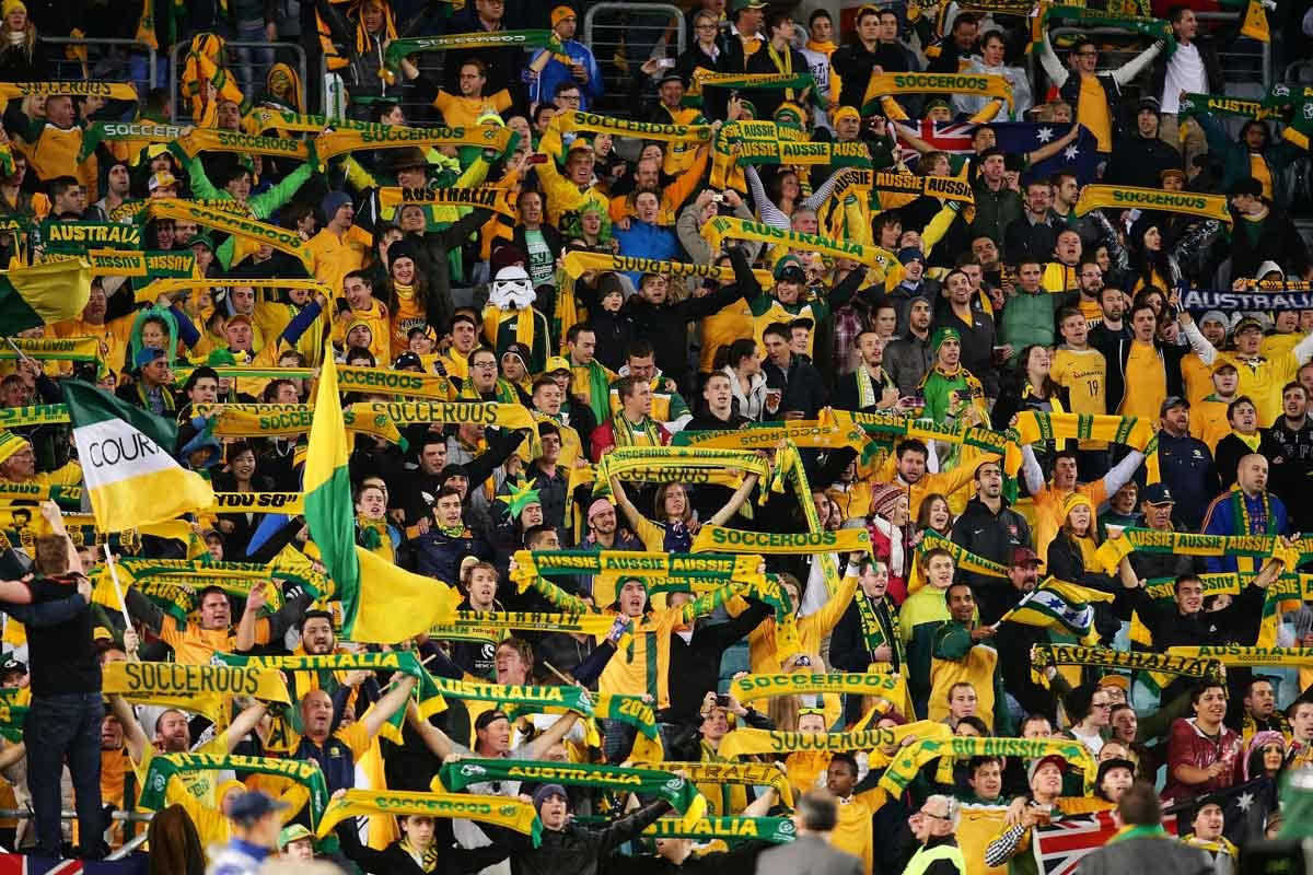 Socceroos fans in full voice at ANZ Stadium.