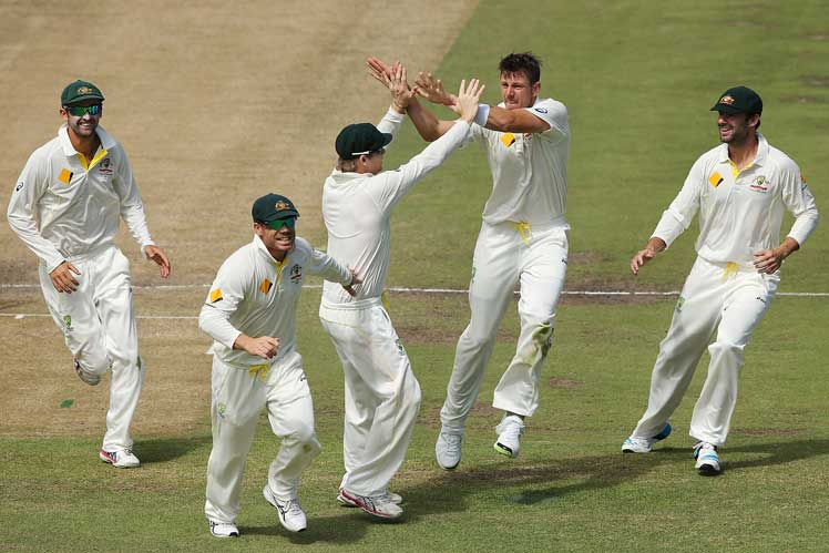 James Pattinson chipped in with the wicket of Dean Elgar. Picture: Getty