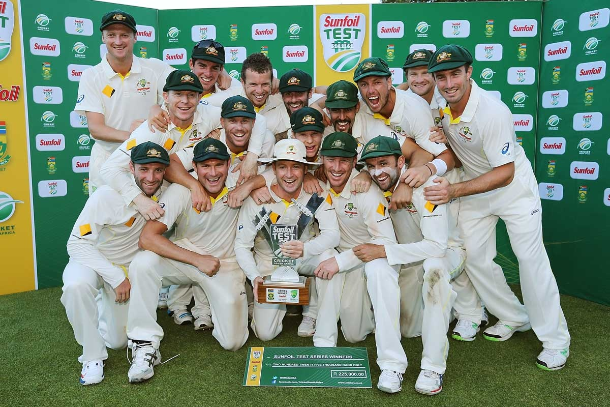 The Australians after defeating South Africa 2-1.