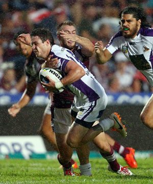 Ben Hampton on the burst for Melbourne Storm. Picture: Getty