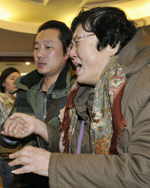 Relatives at a Beijing Hotel. Picture: Getty