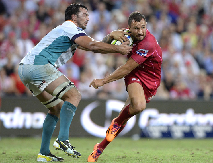 Quade Cooper cuts a move for the Queensland Reds against the Cheetahs. Picture: Getty