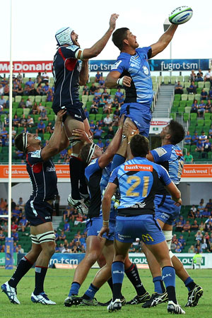 Wilhelm Steenkamp of the Force gets first hand on the ball at a line-out. Picture: Getty