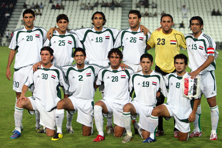 With the Iraqi Olympic team (front row, second from right). Picture: Getty