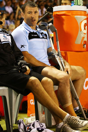 Hobbled: Paul Gallen on the sidelines. Picture: Getty