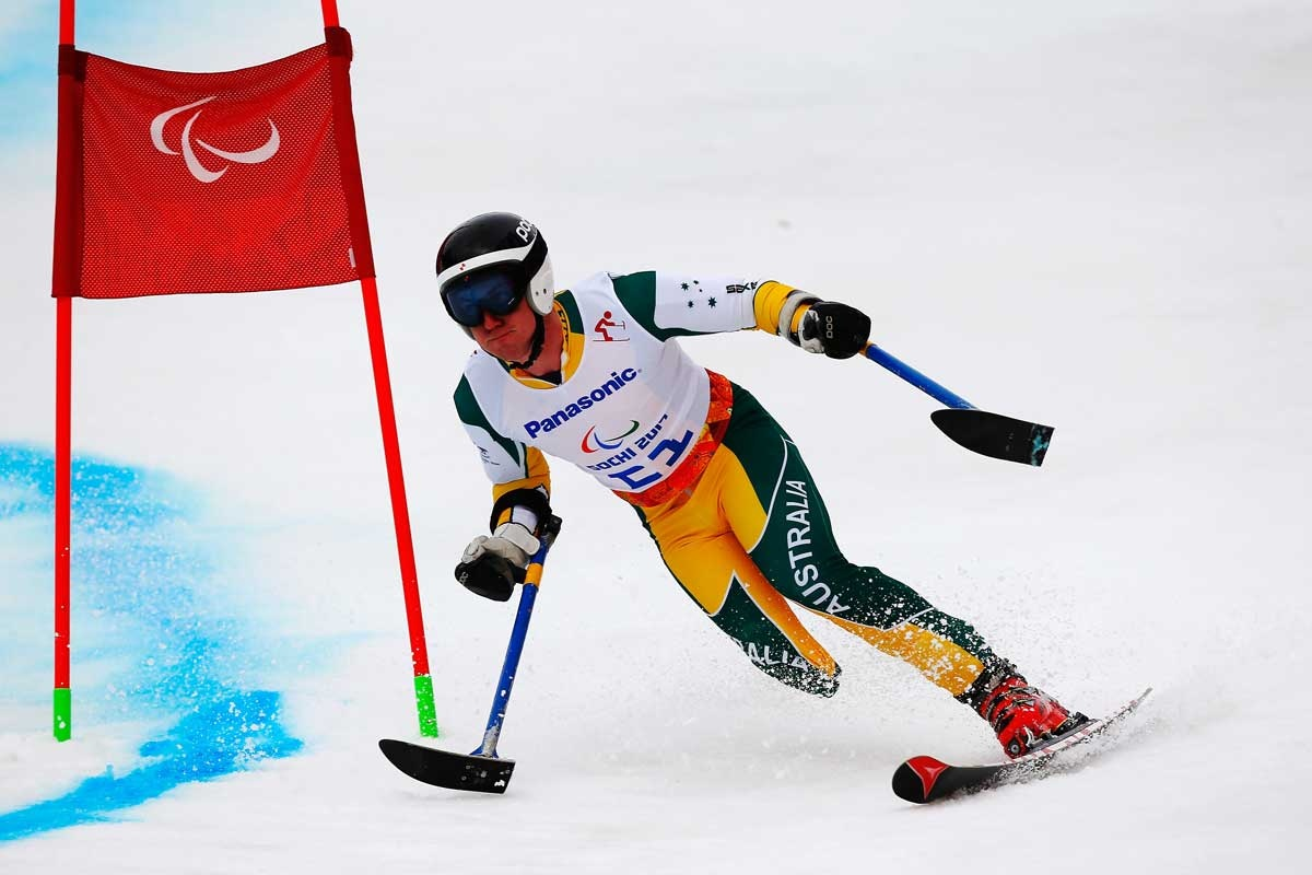 Toby Kane on his way to a medal in the men's giant slalom.