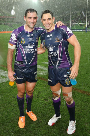 Milestone duo Cameron Smith (left) and Billy Slater. Picture: Getty