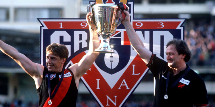 The premiership captain with his coach, Kevin Sheedy. But they could not work together. Picture: Getty