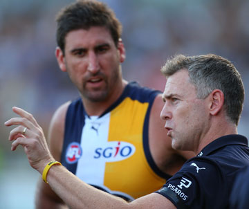 Adam Simpson and one of his giants, Dean Cox. Picture: Getty