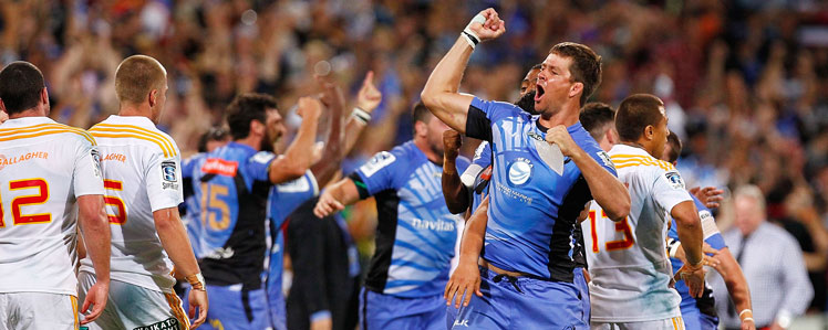 Wilhelm Steenkamp leads the Western Force celebrations in Perth. Picture: Getty