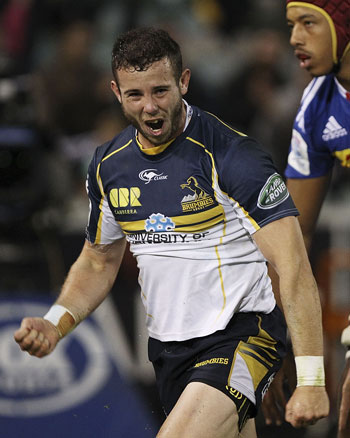 Robbie Coleman of the Brumbies celebrates after scoring a try. Picture: Getty