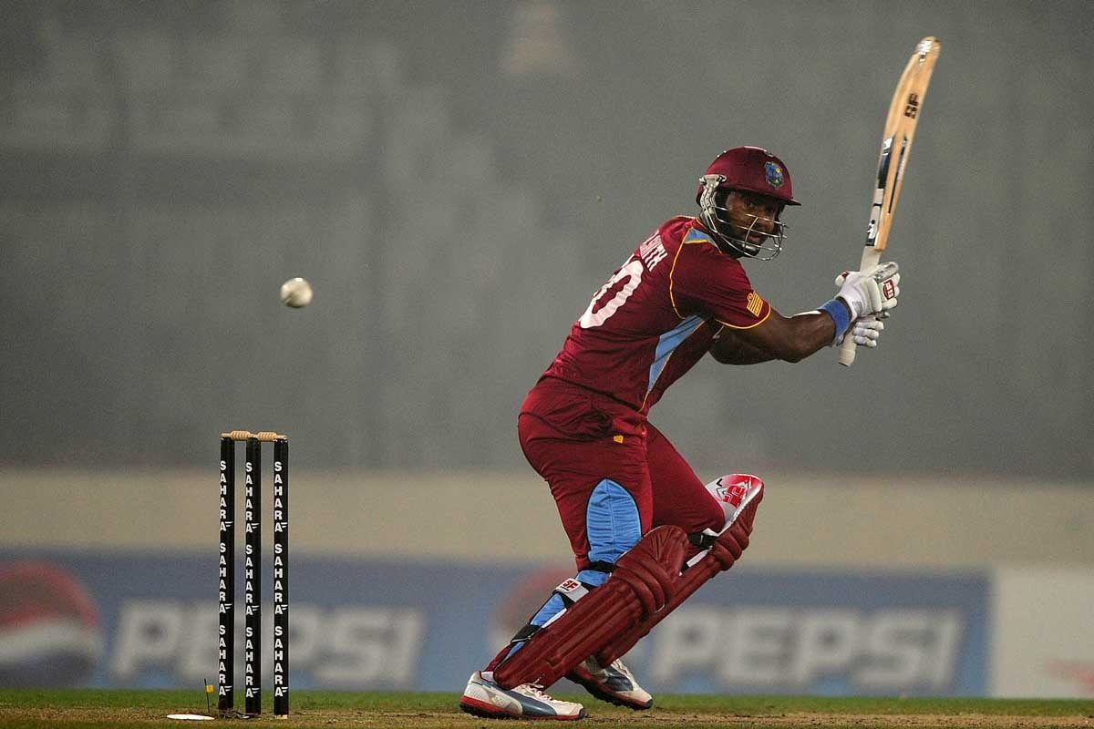 Dwayne Smith hits out for the West Indies.