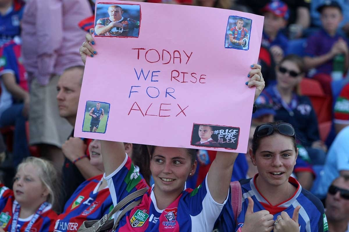 Newcastle fans show their support for Alex McKinnon.