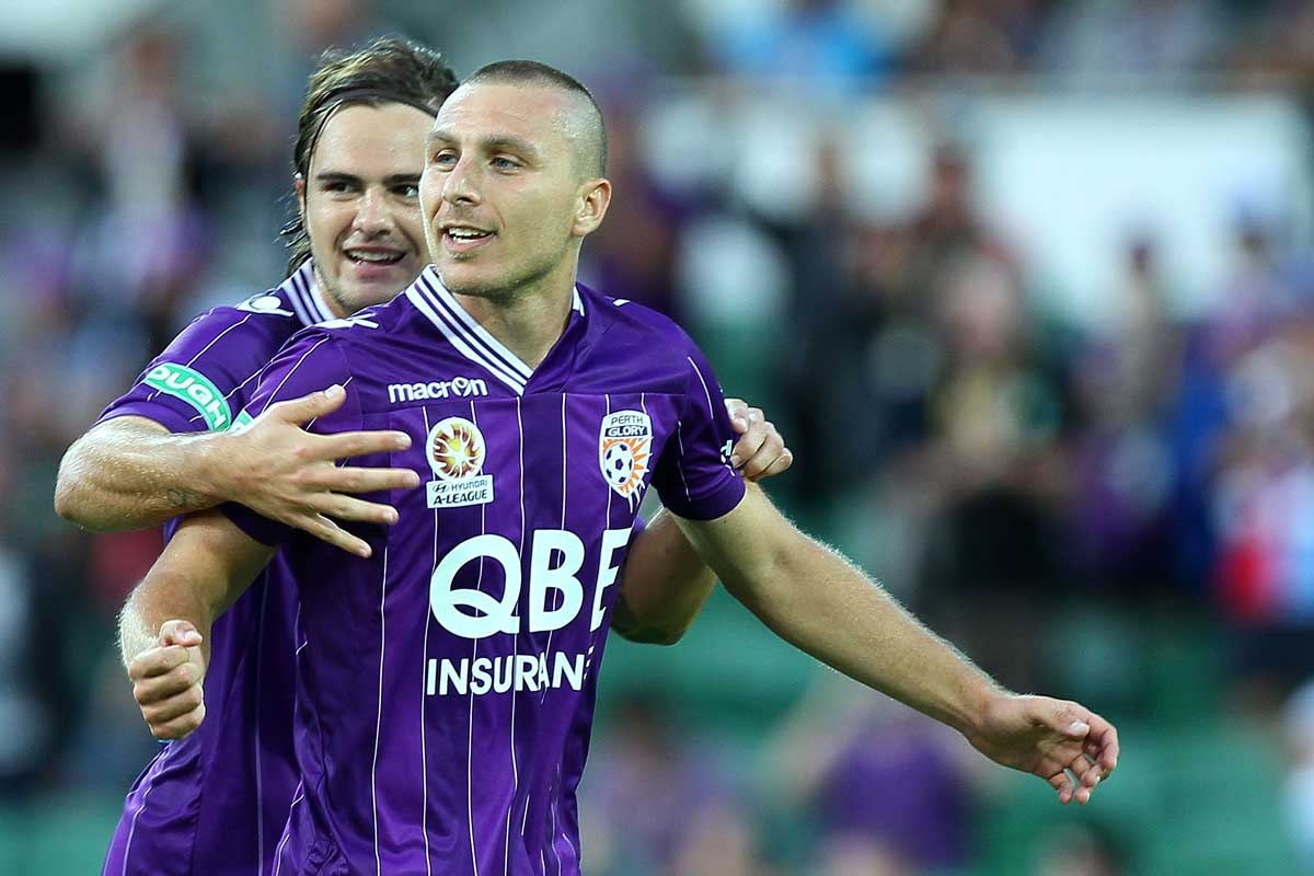 Nebojsa Marinkovic of the Glory celebrates after scoring in Perth.