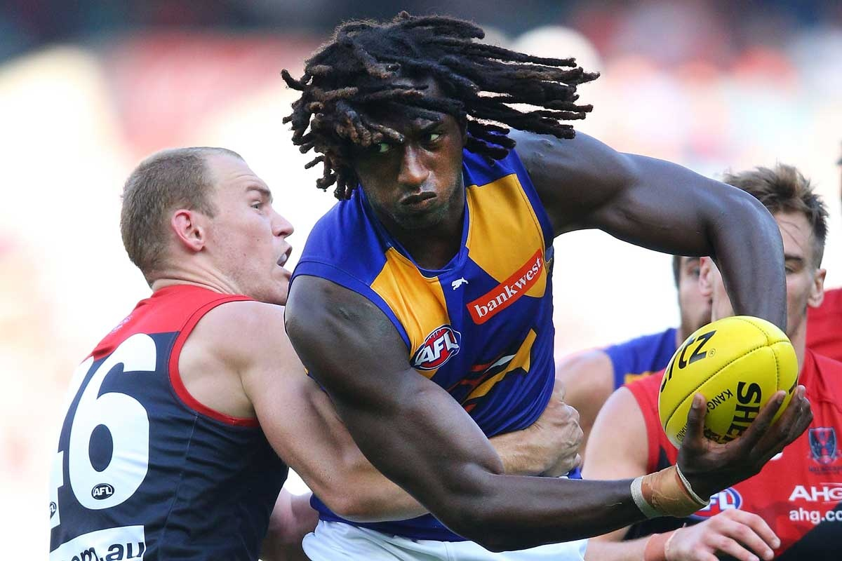 West Coast's Nick Naitanui (right) is too strong for Dean Terlich.