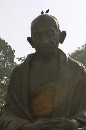 A statue of Indian freedom fighter Mahatma Gandhi.
